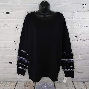 Style & Co Fringe Banded Sweatshirt
